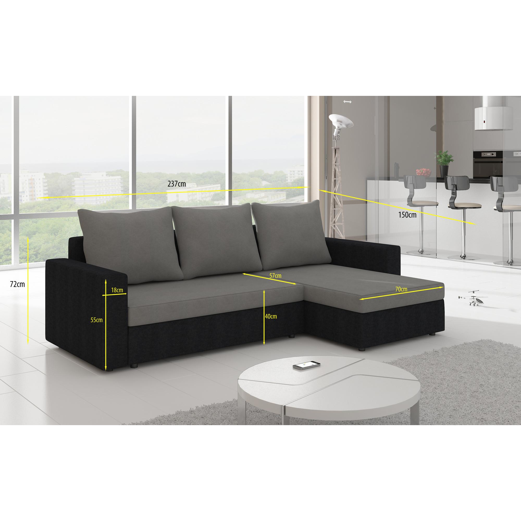 Canapé d angle convertible 3 places en simili cuir noir et