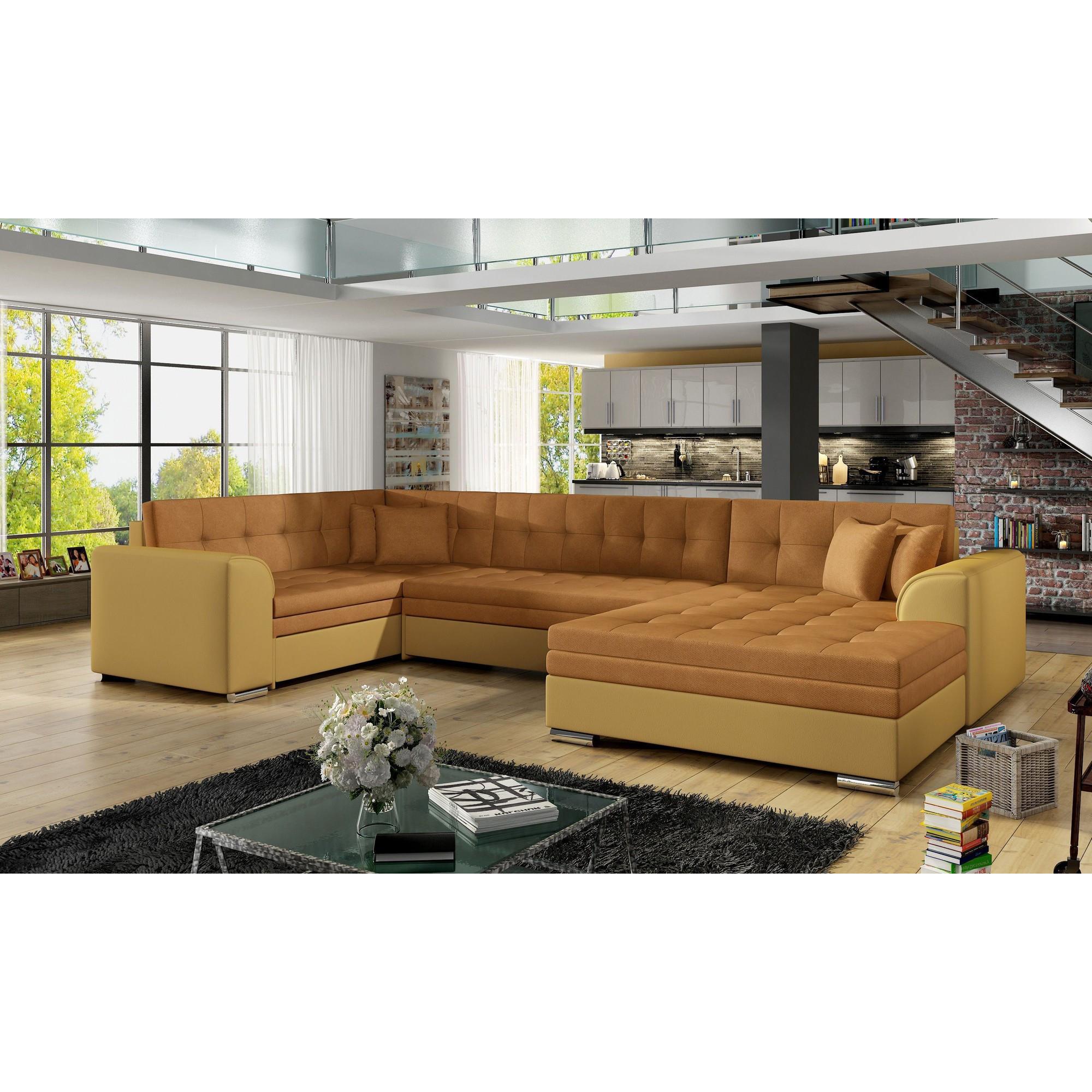 Canapé d angle convertible 6 places en tissu orange et