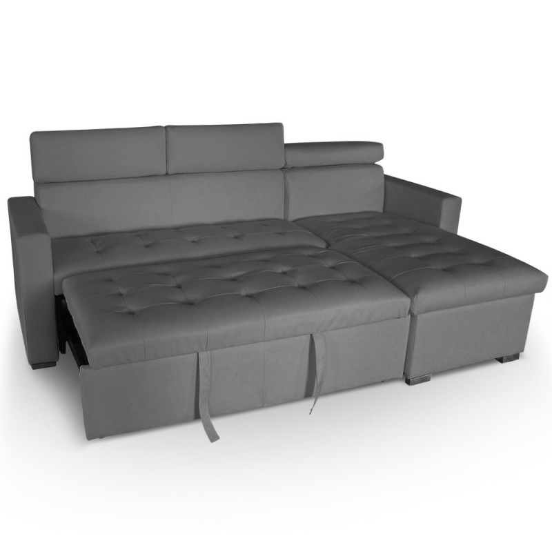 Canapé d angle convertible avec têtières Simili cuir gris