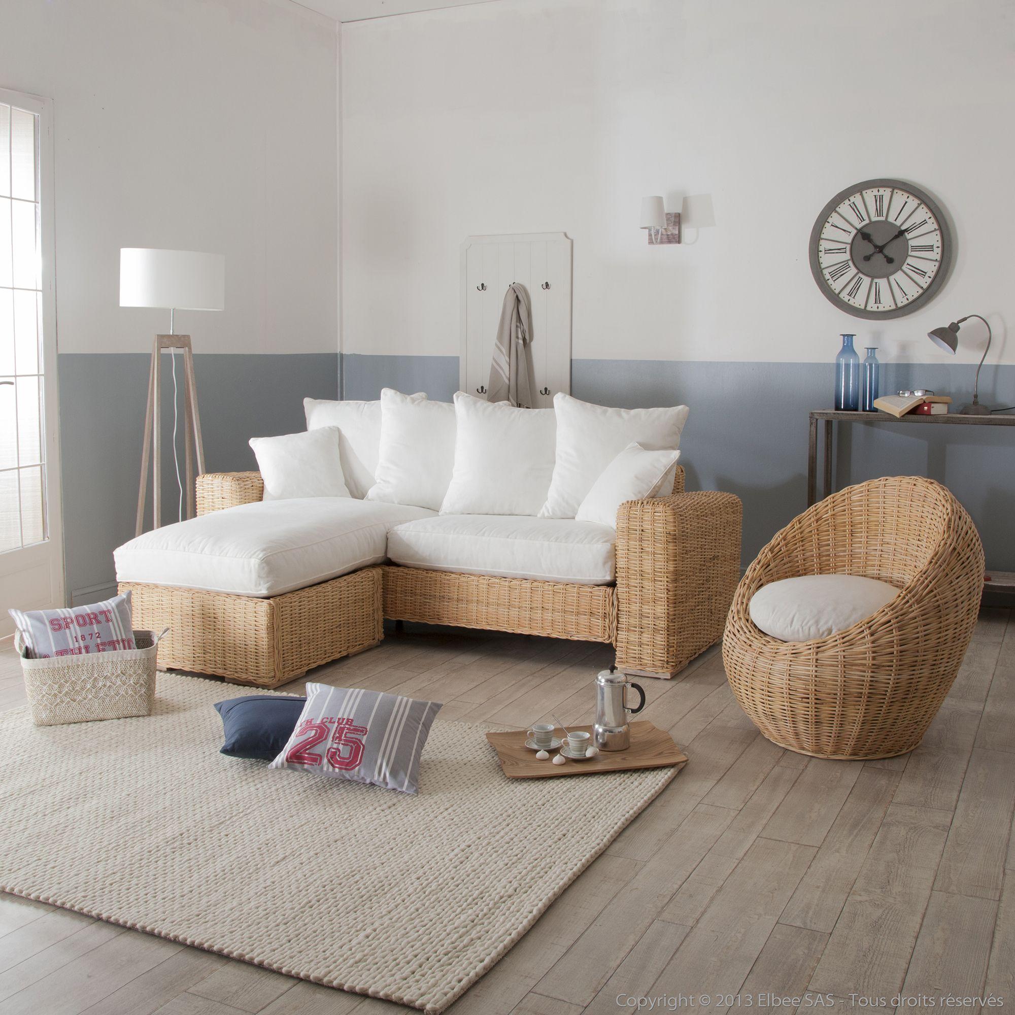 Canapé d angle et fauteuil oeuf en rotin et tissu blanc