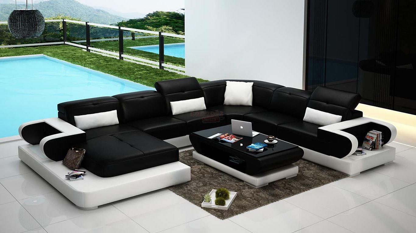 Canapé d angle cuir ou tissu en U DUBAI