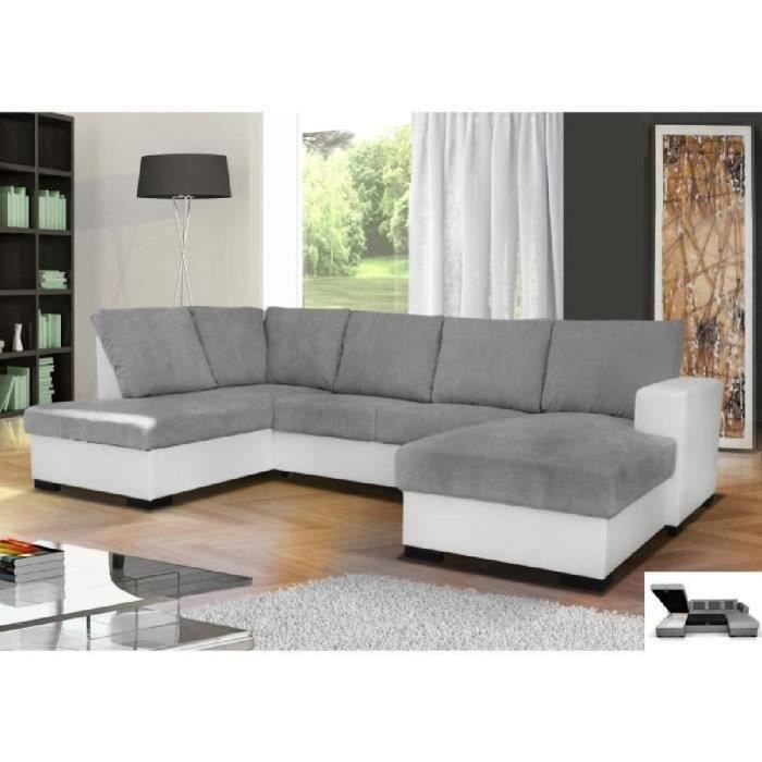 Canapé d angle en U convertible OARA 6 places tissu gris