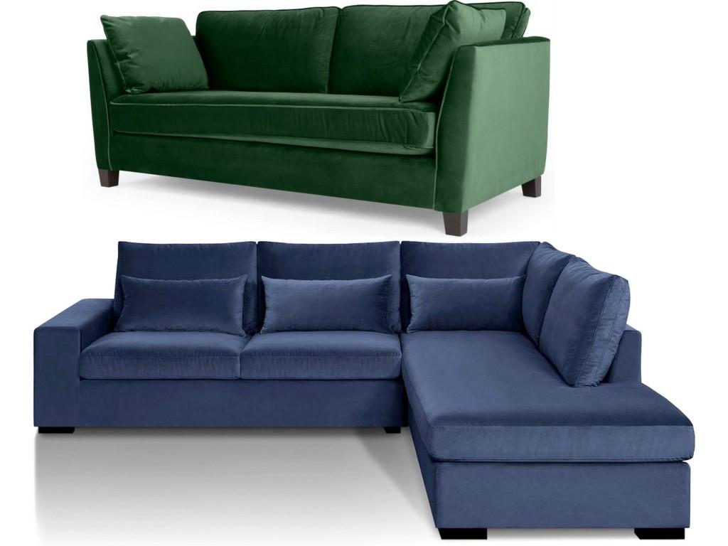 Canapé en velours entre vert et bleu notre cœur balance