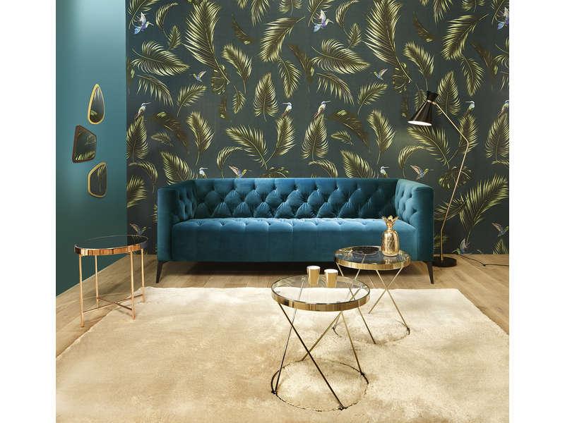 Canapé fixe 3 places en velours VEGA coloris bleu Vente