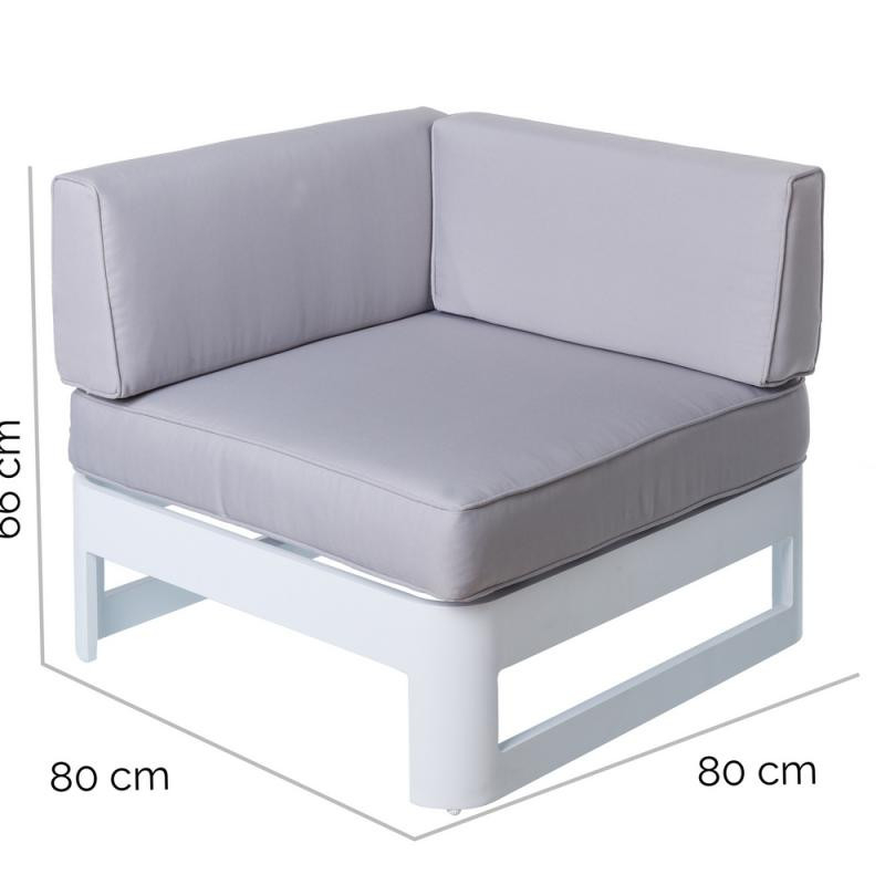 Canape Exterieur Aluminium Canapé D Angle Aluminium Blanc Gris Nuku N°2 Univers Jardin