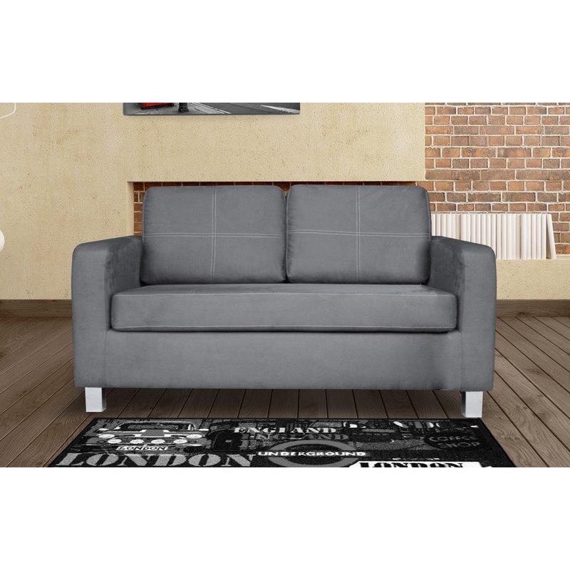 Canapé 2 places fixe coussin capitonné en tissu gris clair