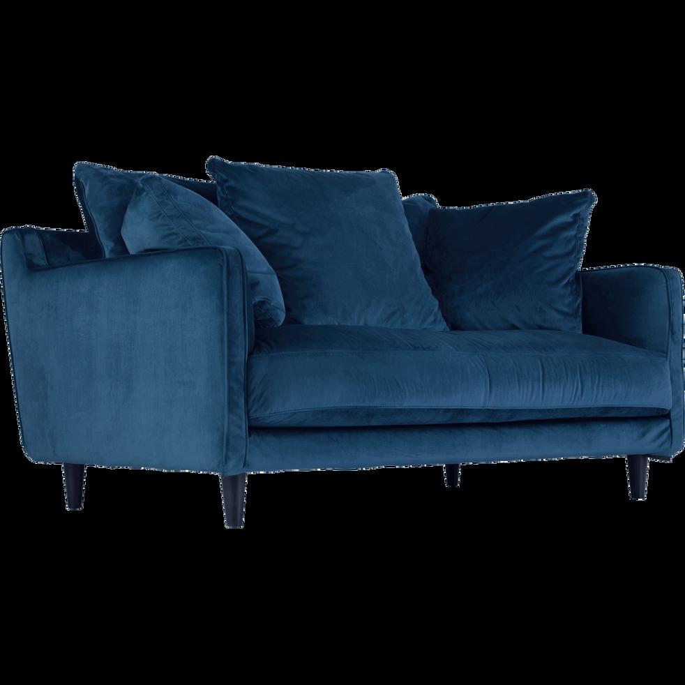 Canapé 2 places fixe en velours bleu figuerolles LENITA