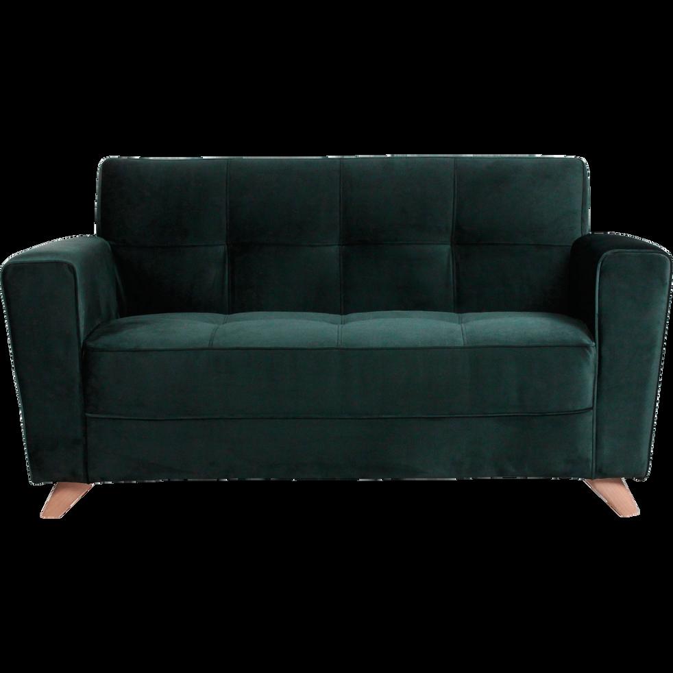 Canapé 2 places fixe en velours vert foncé VICKY