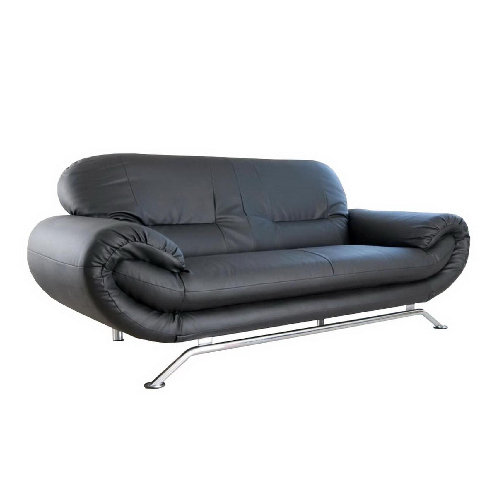 Canapé fixe 2 places en éco cuir noir forium