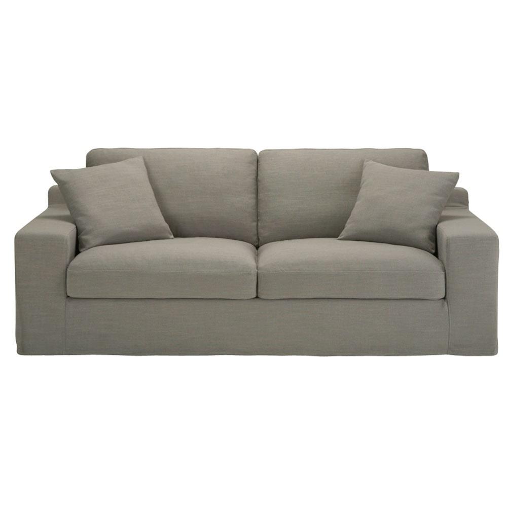 Canapé 3 places en tissu Monet gris clair Stuart