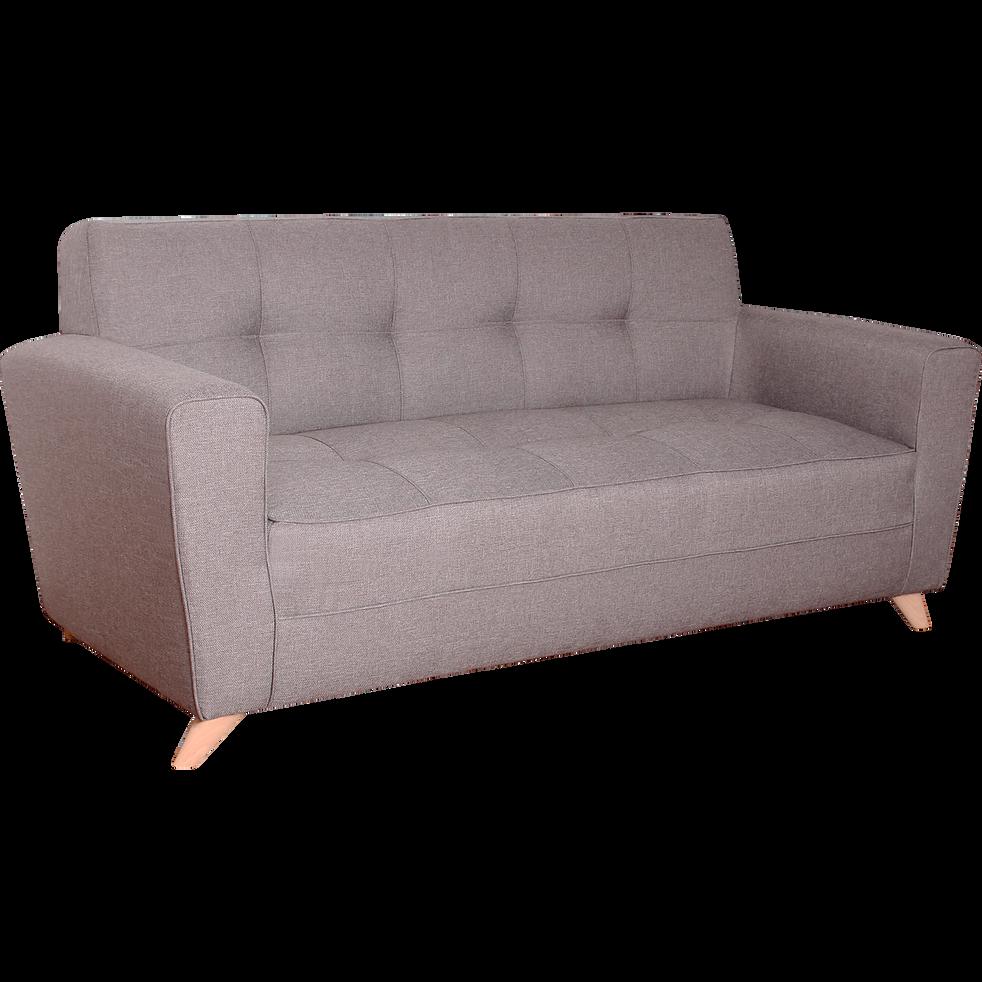 Canapé 3 places fixe en tissu gris clair VICKY canapés