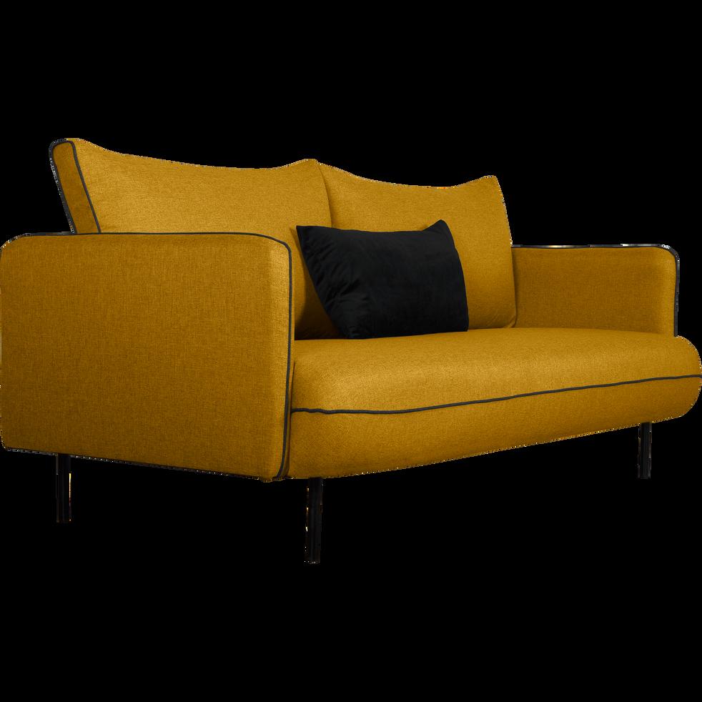 Canapé 3 places fixe en tissu jaune nèfle SAOU canapés