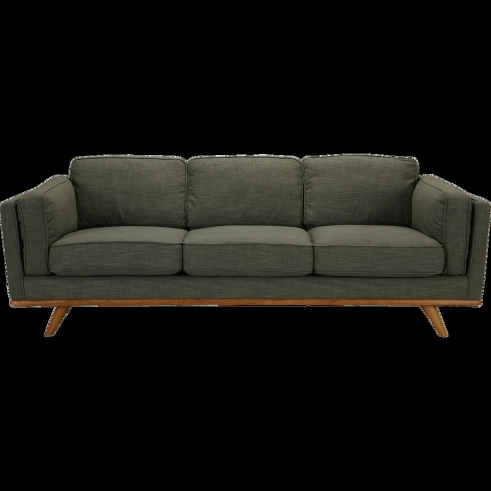 Canapé 3 places fixe en tissu vert cèdre ASTORIA
