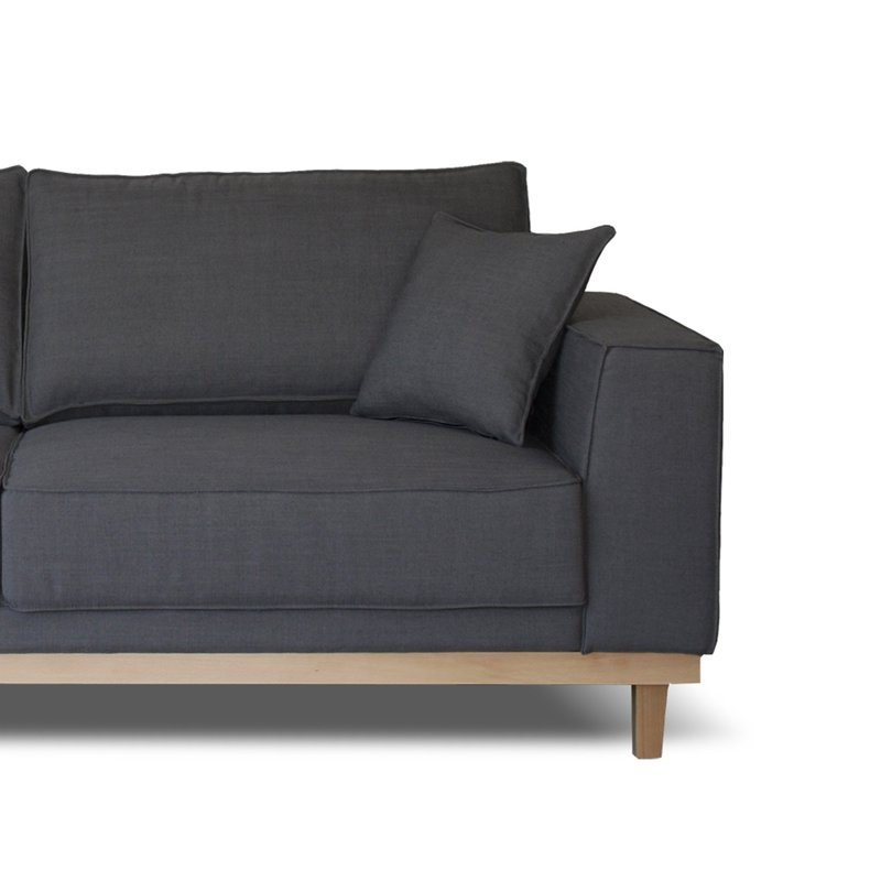 Canapé 3 places fixe pieds bois en tissu anthracite