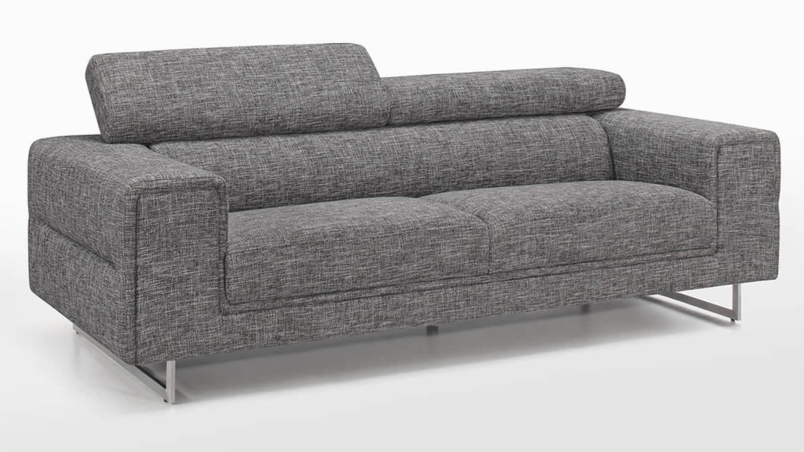 Canapé fixe 3 places avec appui tête tissu gris et