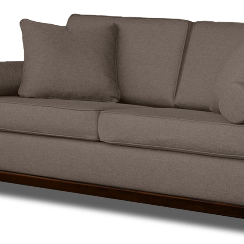 Canapé fixe 3 places en tissu polyester taupe