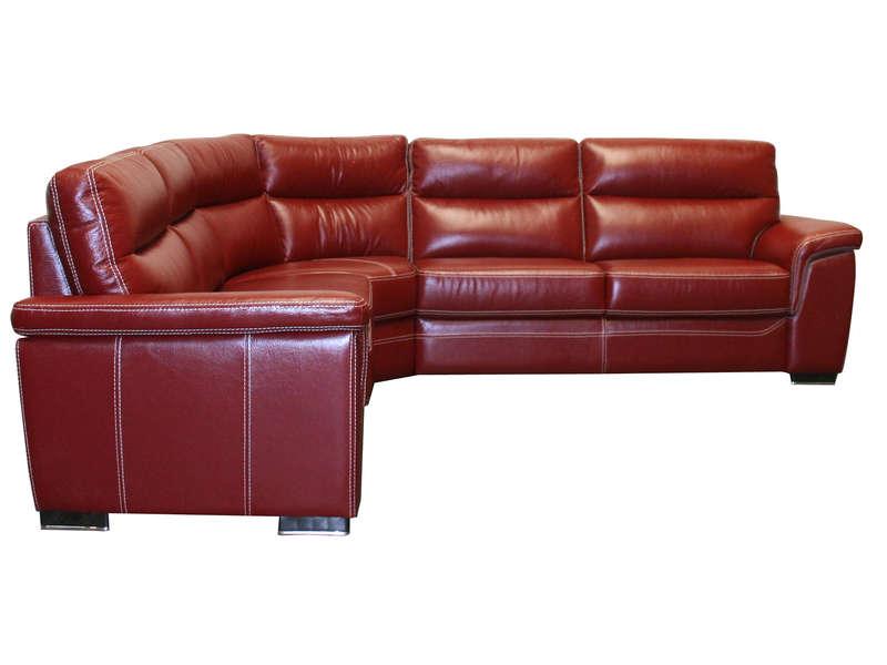 Canapé d angle fixe 5 places en cuir GIOVANNI coloris