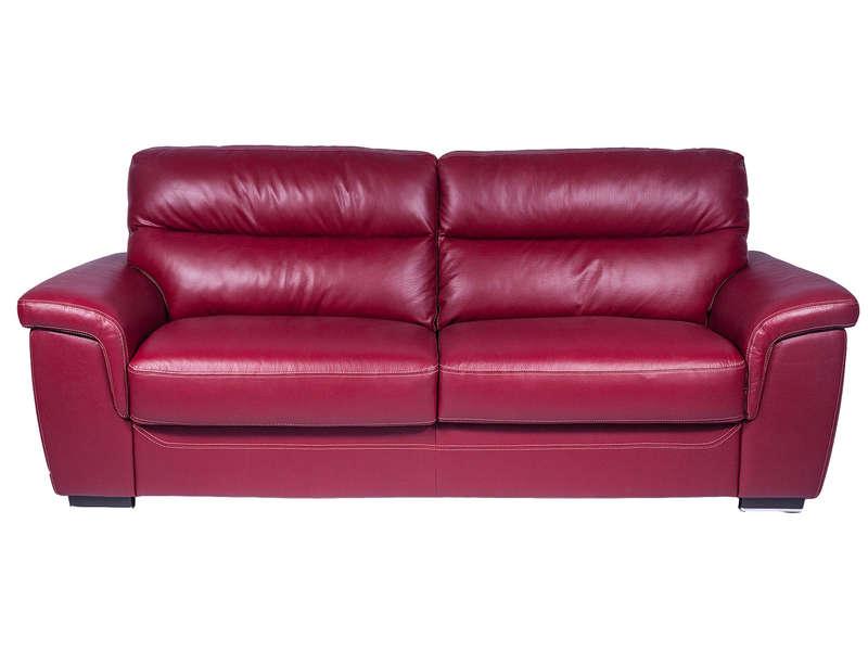 Canapé fixe 3 places en cuir GIOVANNI coloris rouge