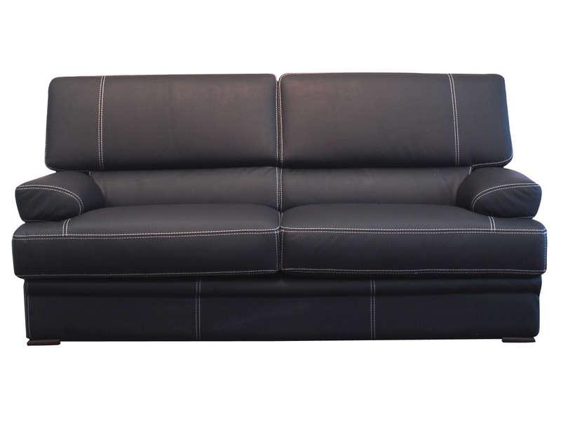 Canapé fixe 3 places en cuir LEONARDO coloris noir Vente