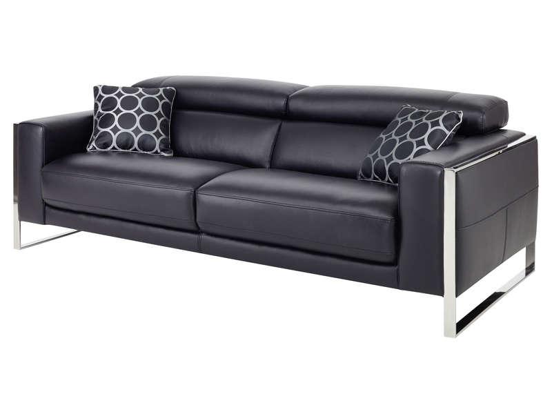 Canapé fixe 3 places en cuir WESTON coloris noir Vente