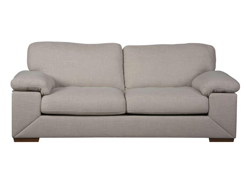 Canapé fixe 3 places en tissu LEIA coloris beige Vente