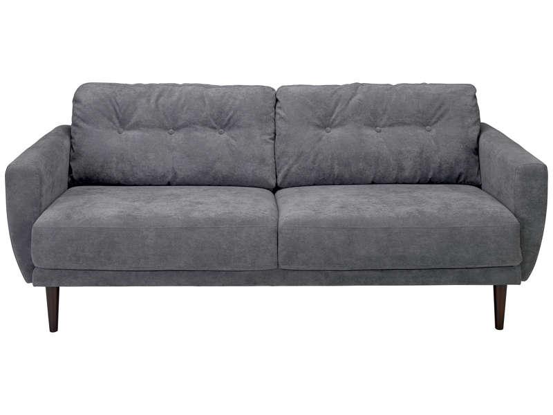 Canapé fixe 3 places en tissu LUNA coloris gris Vente de