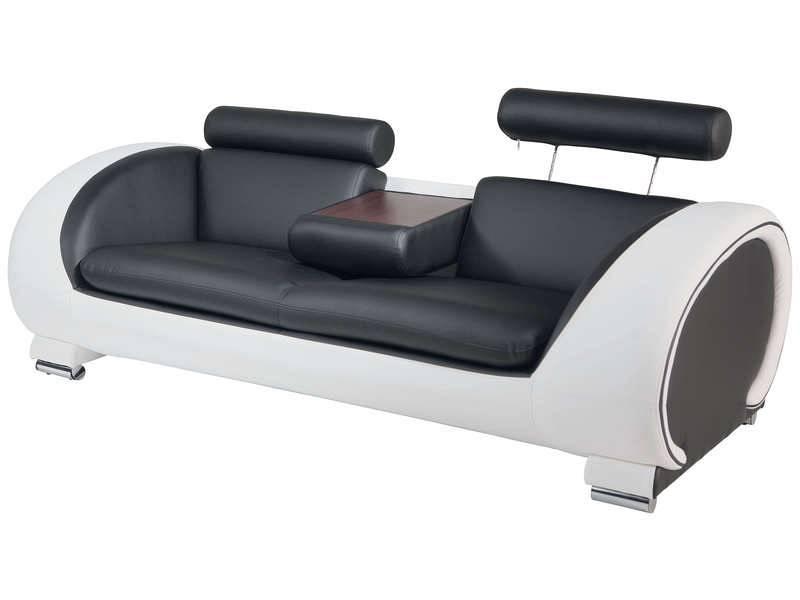 Conforama canapé fixe 3 places panama coloris noir blanc
