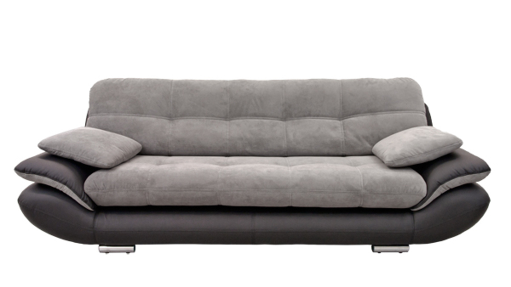 Canape 3 places Baggio 2 Pu noir tissu gris