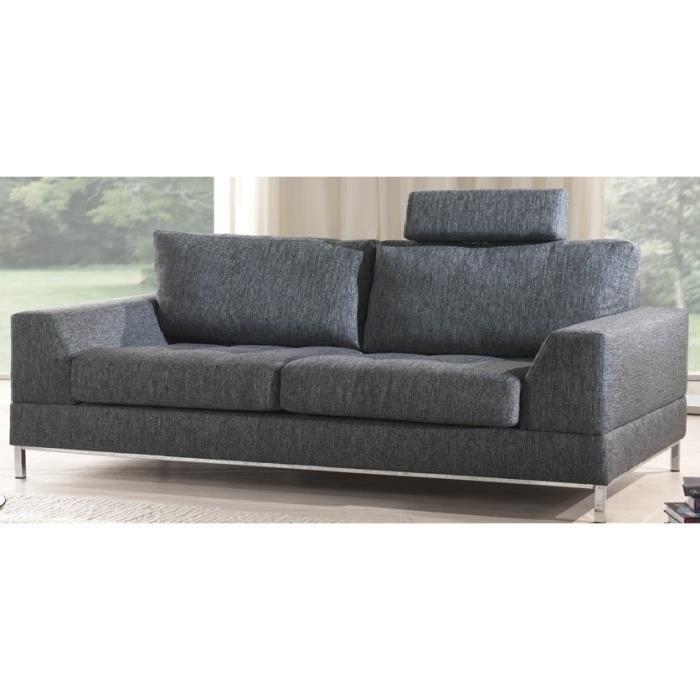 Canapé 3 places DAGAR N3 en tissus gris Achat Vente