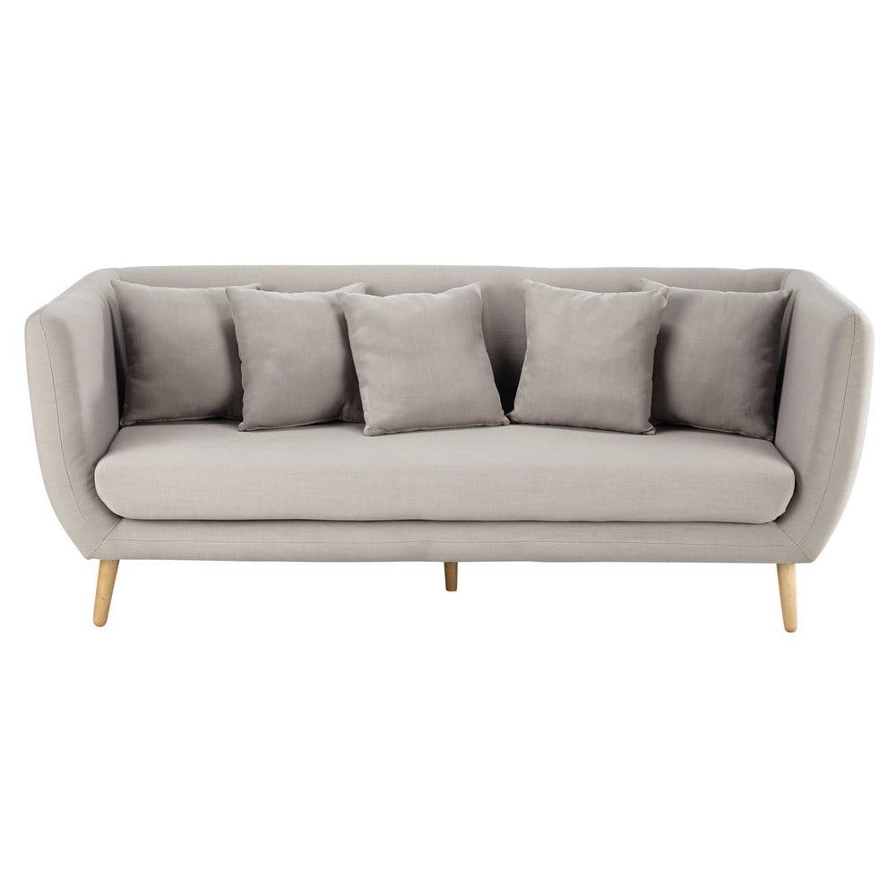 Canapé 3 places en tissu gris clair Clara