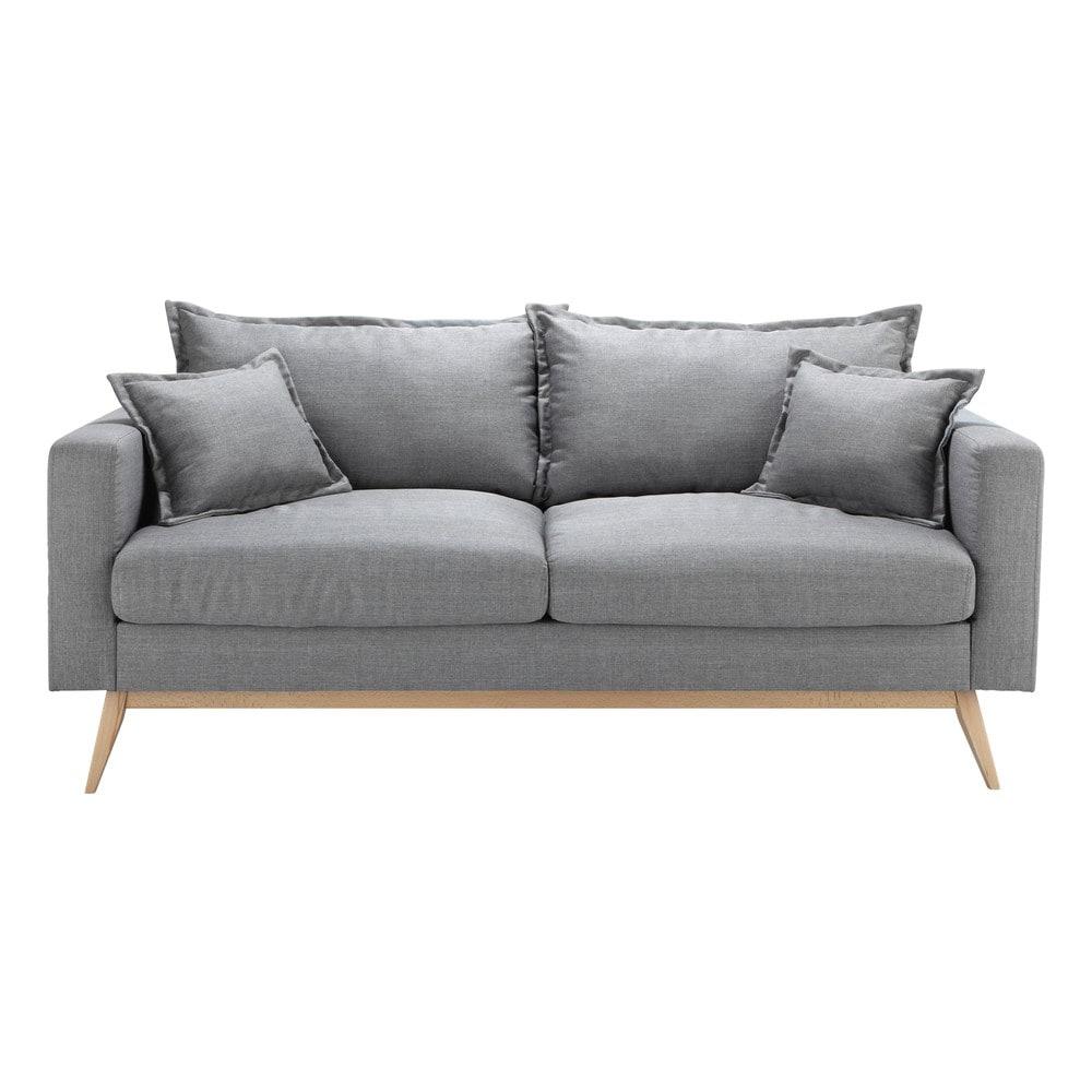 Canapé 3 places en tissu gris clair Duke