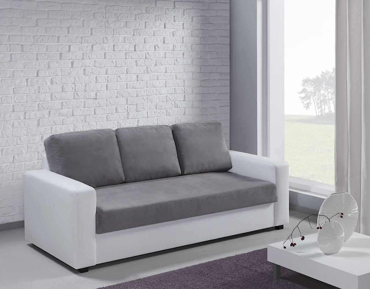 Canapé 3 places Esther blanc et gris