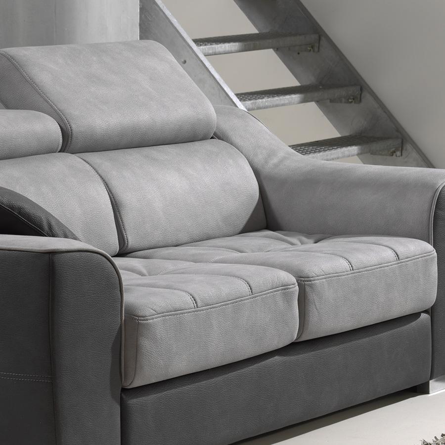 Canape 3 places gris en tissu