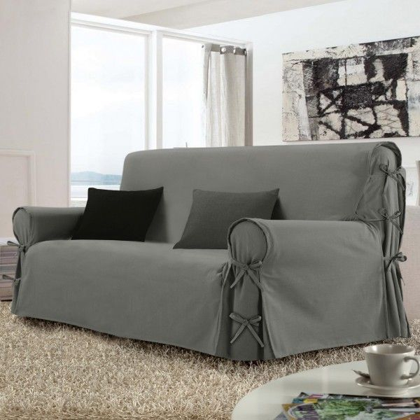 Housse de canapé 3 places Stella Gris Déco textile Eminza