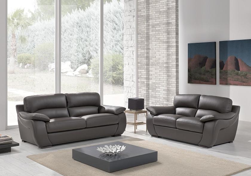 Canapé cuir gris design CATHARINA Salon Cuir ITALY Pas