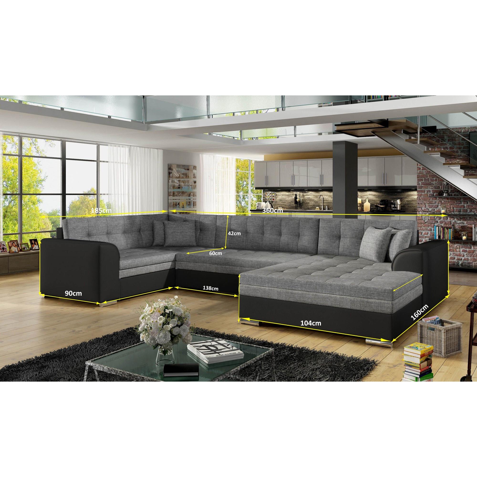 Canapé d angle convertible 6 places en tissu bleu marine