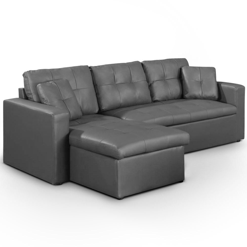 Canapé d angle convertible simili cuir gris Cuba