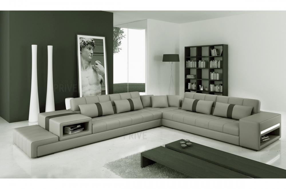 Canapé d angle en cuir italien 6 7 places passion gris