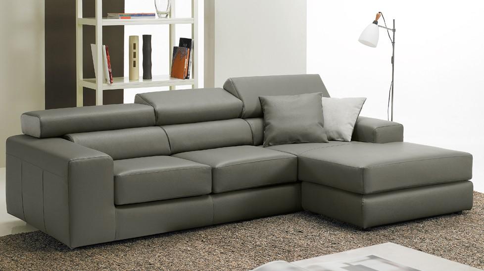 Canapé d angle réversible en cuir gris pas cher Canapé