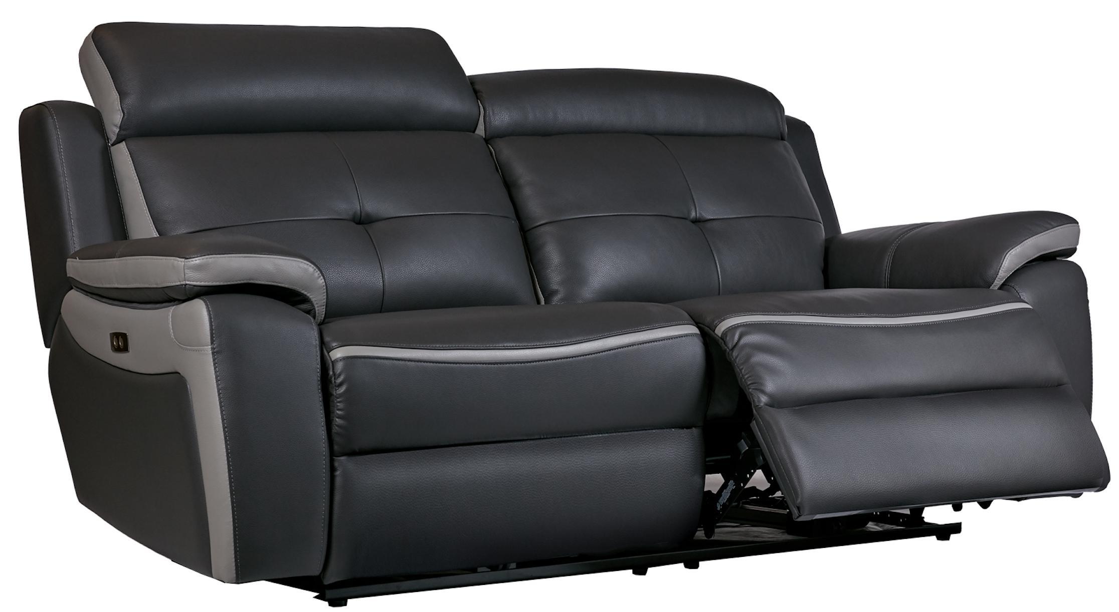 Canapé de relaxation 3 places électrique Cuir Gris foncé
