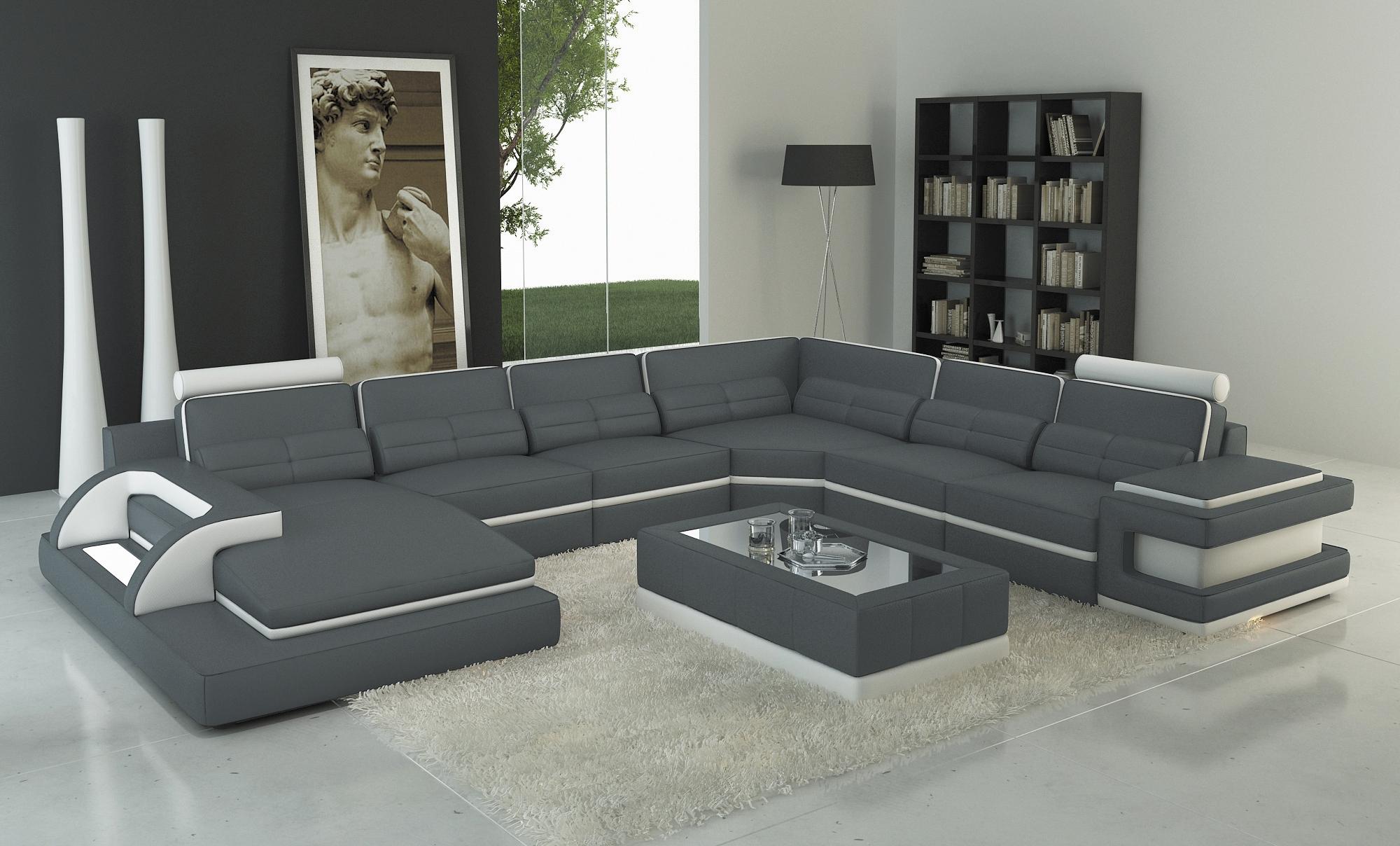 DECO IN PARIS 6 canape panoramique cuir gris et blanc