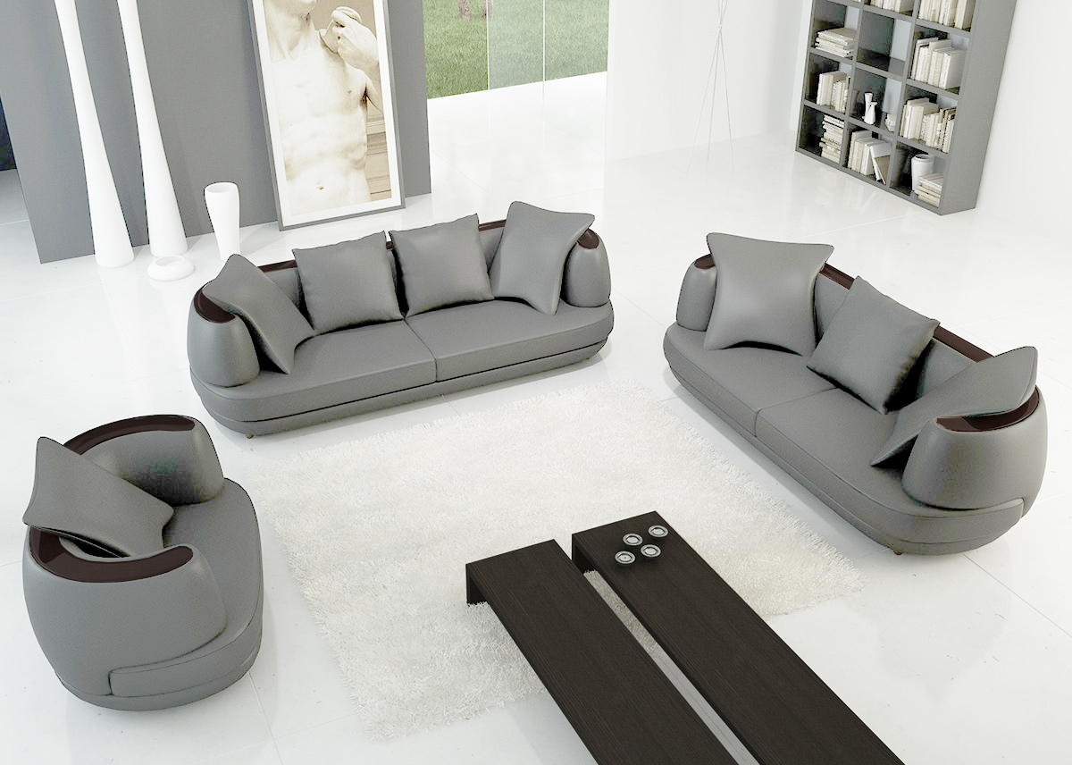DECO IN PARIS Ensemble canape 3 2 1 places en cuir gris