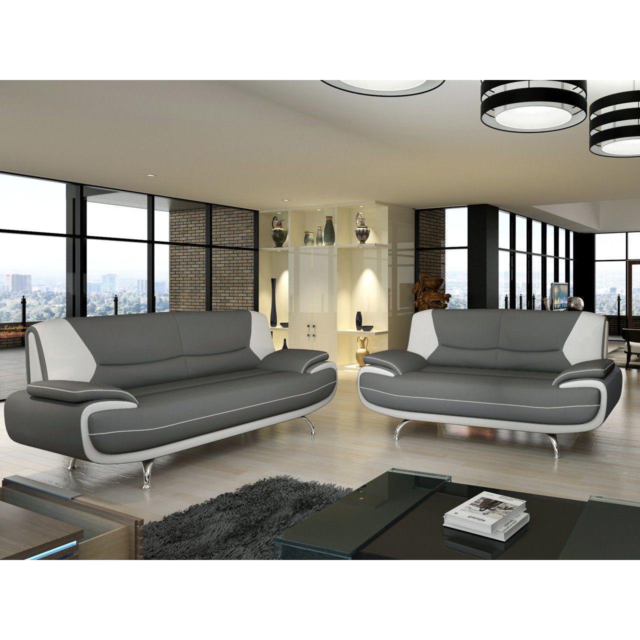 Salon Canapé 3 places en simili cuir noir et blanc