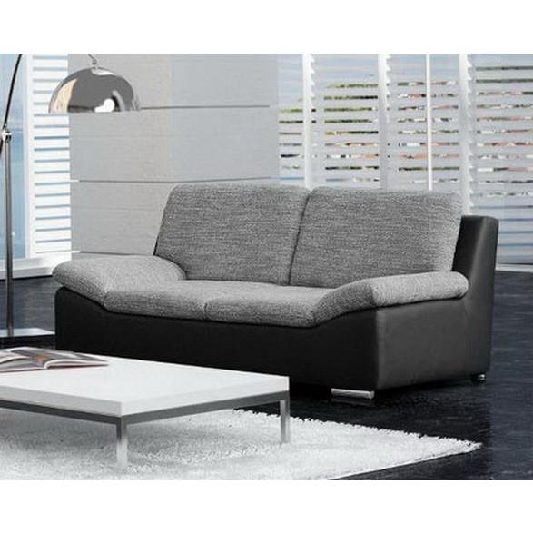 Canapé 2 places en tissu gris et simili cuir noir forium