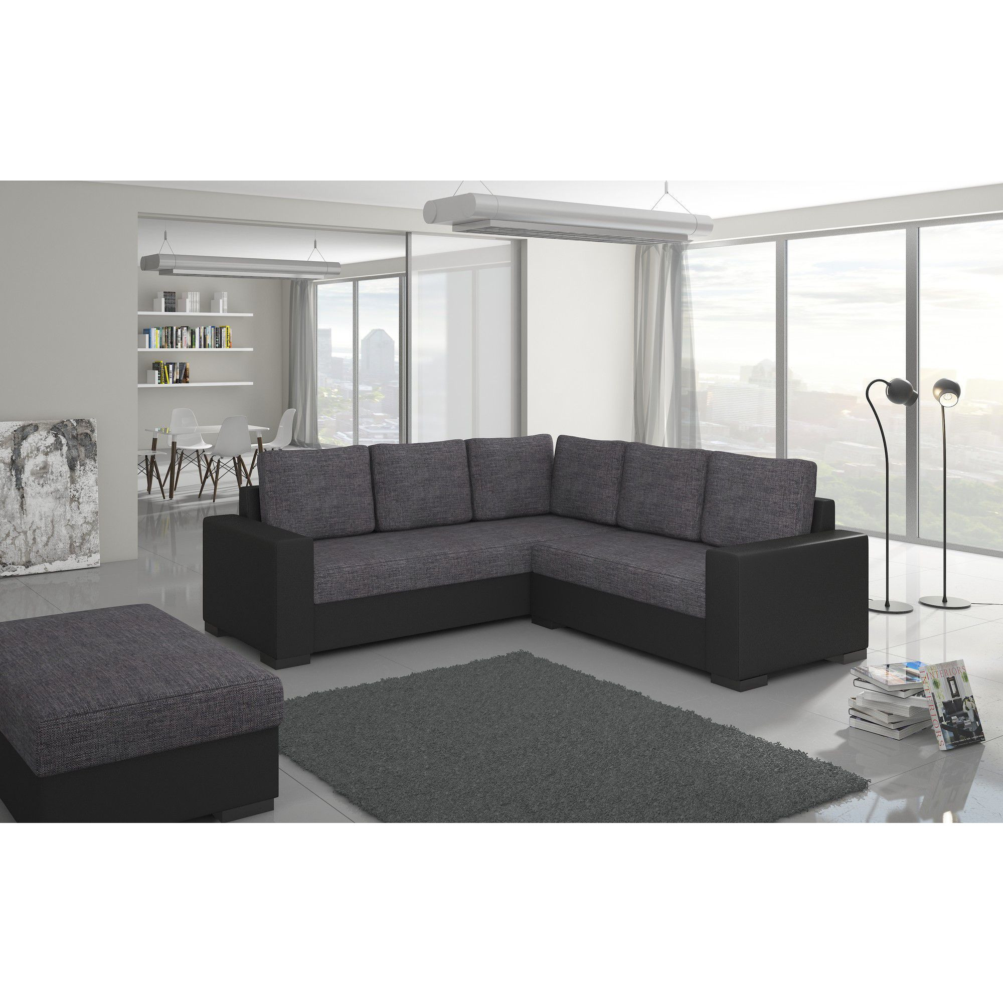 Canapé d angle convertible 4 places en tissu gris et pvc