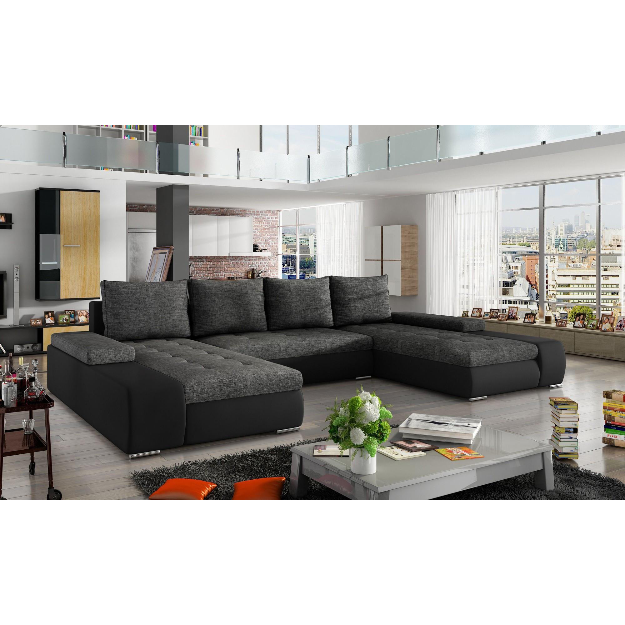 Canapé d angle convertible 5 places en tissu gris