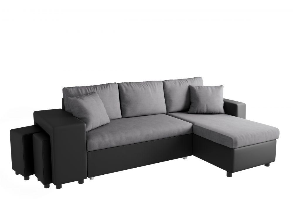 Canapé d angle convertible en lit avec poufs OSLO gris noir