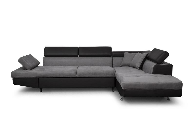 Canapé d angle droit 5 places convertible microfibre gris