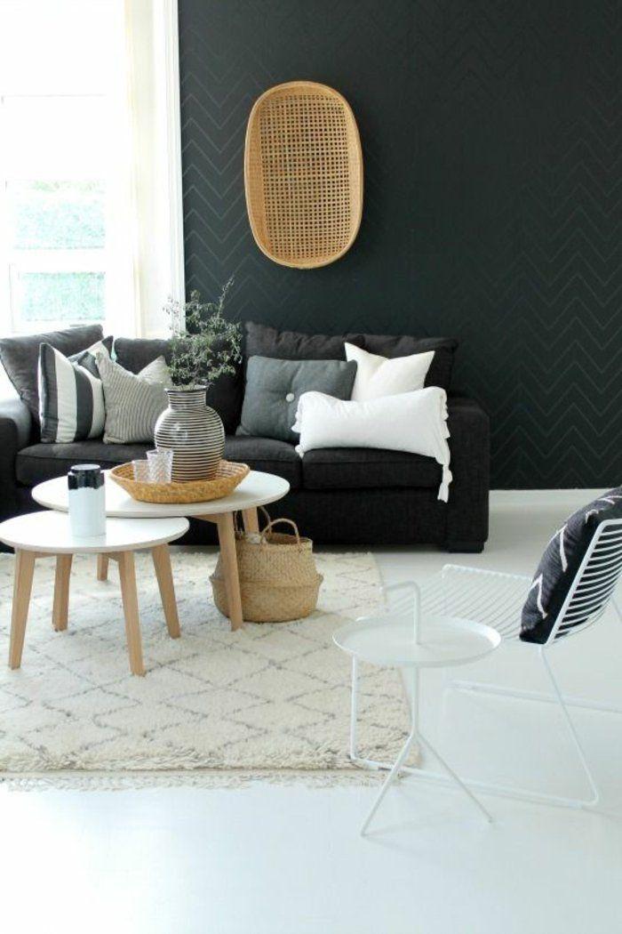deco nordique avec tapis beige et canapé gris mur noir et