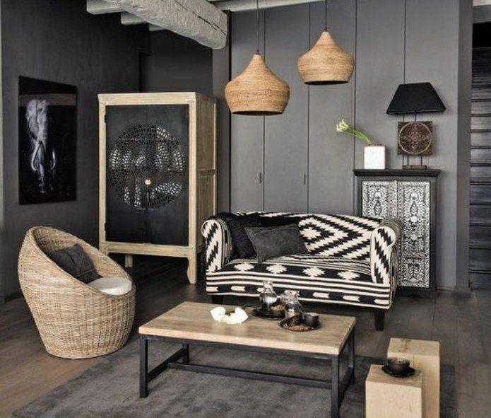 Déco Salon deco salon gris murs couleur anthracite